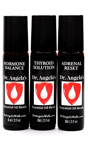 Dr. Angela's Hormone Balance Trio Essential Oil Set of (3) Thyroid Support, Adrenal Support, Hormone Balance Blends (hot Flashes and Menopause Support) Therapeutic Grade (3) 10 ml Roll-On Bottles