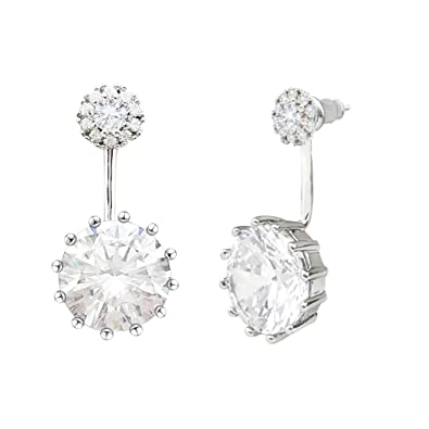 7295cf79e Image Unavailable. Image not available for. Colour: SELOVO Double Use Cubic  Zirconia Front Back Ear Jacket Stud Earrings 925 Sterling Silver Post