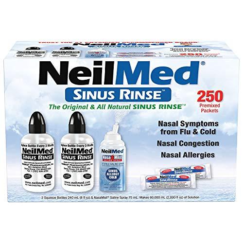 NeilMed Sinus Rinse -Economy Pack of 2 Bottles - 250 Premixed Packets and NasaMist Saline Spray NeilMed-m1