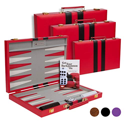 (Get The Games Out Top Backgammon Set - Classic Board Game Case - Best Strategy & Tip Guide - Available in Small, Medium and Large Sizes (Red, Medium))