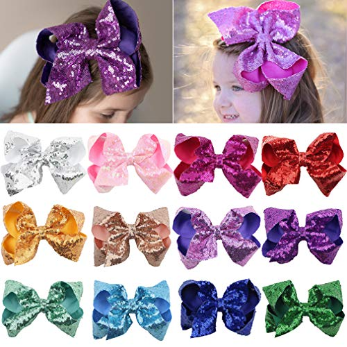 - Sequin Bow Baby Girls 6in Large Glitter Party Favors 12pcs Sparkling Big Hair Bows Alligator Hair Clips for Girls Baby Toddlers Children