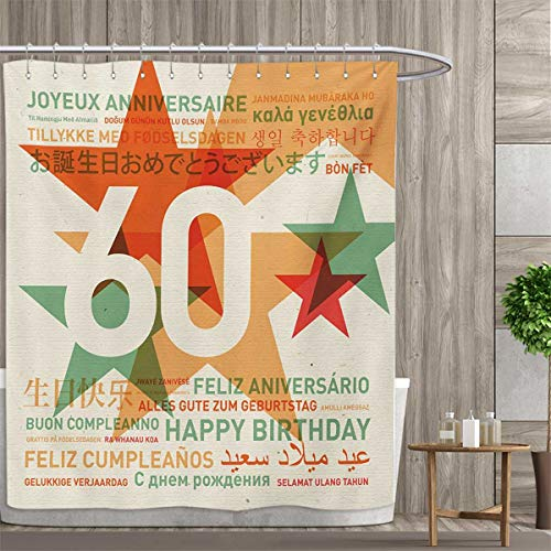 smallfly 58th Birthday Shower Curtain Collection by World Cities Birthday Party Theme with Abstract Stars Print Patterned Shower Curtain 36