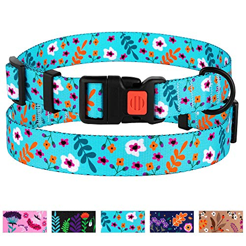 (CollarDirect Floral Dog Collar Nylon Pattern Flower Print Adjustable Pet Collars for Dogs Small Medium Large Puppy (Neck Fit 10