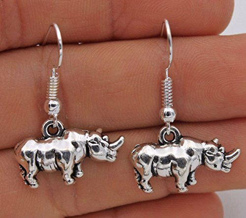 Plated Club - wassana 925 Silver Plated Hook -1.3'' Vintage Rhinoceros Retro Silver Club Earrings #61