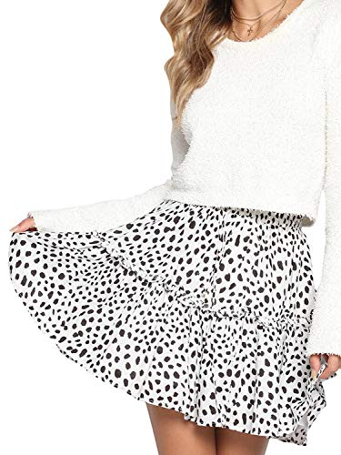 Conmoto Women's Elastic High Waist Ruffle Mini Skirt Boho Dot Floral Print A Line Flare Skirt White ()