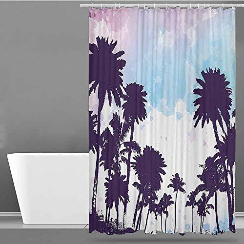 XXANS Shower Curtain with Hooks,Tropical,Fabric Shower Curtain Bathroom,W48x84L Plum Pale Blue Lilac