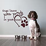 """Wall Decal Decor Dog Wall Decal Quote- Dogs Leave Paw Prints On Your Heart- Dog Lover Gift Pet Paw Print Wall Decal Bedroom Kids Home Decor(Black, 22""""h x31""""w)"""
