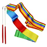 SOOKOO 2 Pack Rhythmic Gymnastics Ribbon for Kids, Baton Twirling, Dancing Streamers