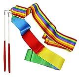SOOKOO 2 Pack Rhythmic Gymnastics Ribbon for Kids, Baton Twirling, Dancing Streamers