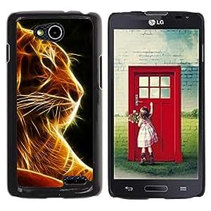 Qstar Arte & diseño plástico duro Fundas Cover Cubre Hard Case Cover para LG OPTIMUS L90 / D415 ( Tiger Black Orange Fire Animal Feline)