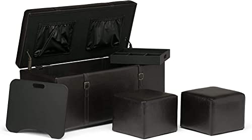 Simpli Home Dorchester 41 inch Wide Transitional Rectangle Lift Top 5 Pc Storage Ottoman