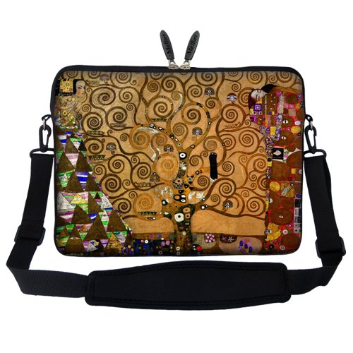 Meffort Inc 15 15.6 inch Neoprene Laptop Sleeve Bag Carrying Case with Hidden Handle and Adjustable Shoulder Strap - Klimt Tree of Life