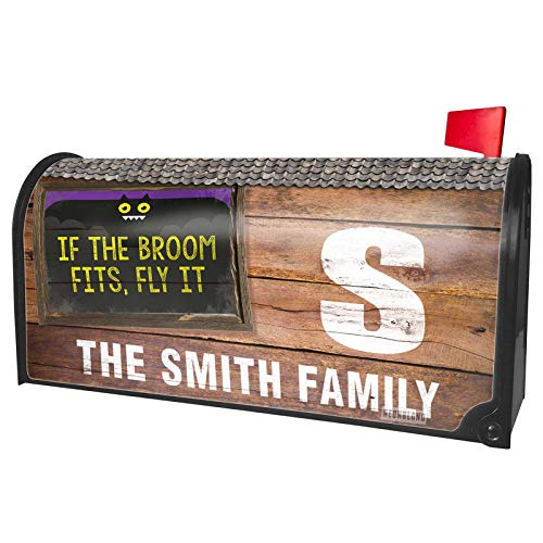 NEONBLOND Custom Mailbox Cover If The Broom Fits, Fly It Halloween Funny Bat]()