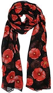 99a16bccc5efd Red Poppy Print Scarf on Black Wrap Ladies Floral Remembrance day ...
