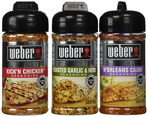 Garlic Chicken - Weber All Natural Seasoning Blend 3 Flavor Variety Bundle: N'Orleans Cajun,  Roasted Garlic Herb, and Kick'N Chicken, 5-5.5 Ounce