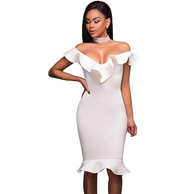Carolina Dress Vestidos De Mujer Ropa De Moda Para Fiesta y Noche Elegante Casuales Blancos (