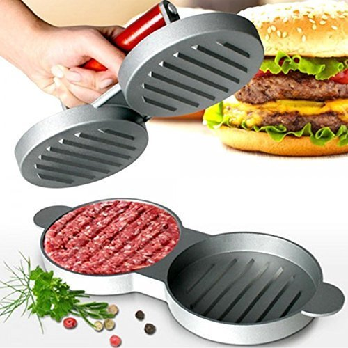 Chabrias Double Hamburger Beef Burger Quarter Pounder Maker Mould Press Patty Barbecue Bbq Meat Barbeque Grill, Multicolour, 28 x 12 x 9 cm