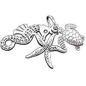 JGFinds 10 Sets Silver Tone 3 Piece Turtle Seahorse Starfish Pendant - Findings, DIY Crafts, Jewelry Making, Ocean Beach Charms