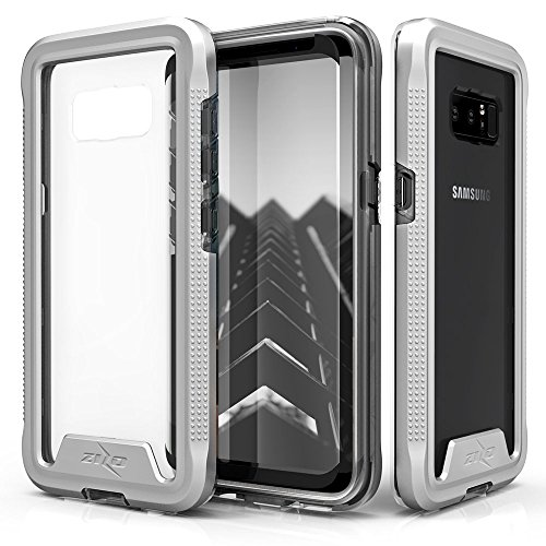 Samsung Galaxy Note 8 Case, Zizo [ION Series] with FREE [Curved Full Glass Screen Protector] Transparent Clear [Military Grade Drop Tested] Note 8 Silver/Clear