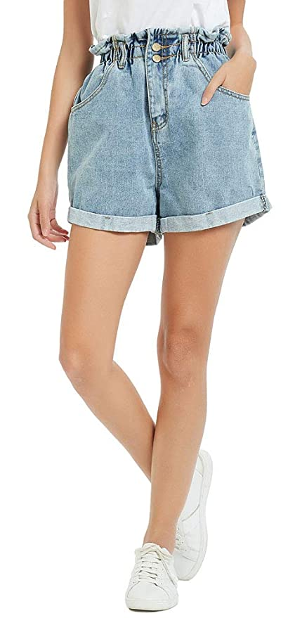 Vintage High Waisted Shorts, Sailor Shorts, Retro Shorts Plaid&Plain Womens High Waisted Denim Shorts Rolled Blue Jean Shorts $19.99 AT vintagedancer.com