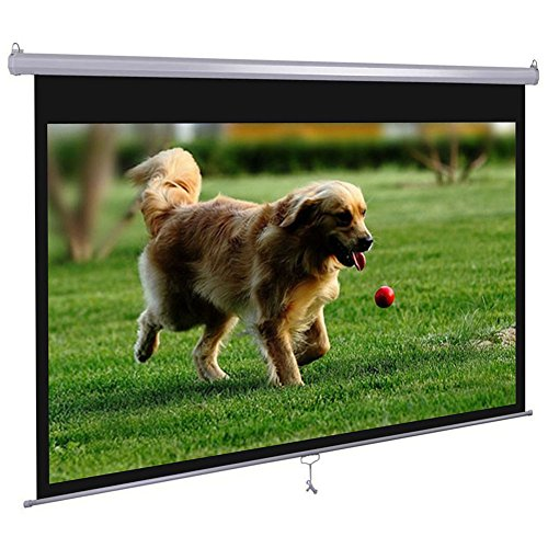 "Dansung Manual Pull Down Projector Screen 72"" 4:3 HD Projection Screen for Indoor Home Theater Business Office TV Presentation Movie Screen with Durable Wrinkle-Free retrack and stop feature"