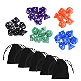 Blulu 35 Pieces Polyhedral Dice in 5 Complete Sets with 5 Pack Black Pouches for Dungeons and Dragons