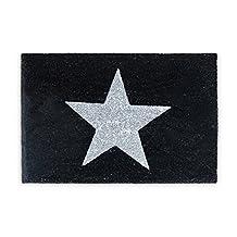 Relaxdays Natural Coconut Fiber Coir STAR Doormat Door Mat Welcome Mat w/ Anti-Slip Rubber PVC Underside, Black