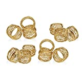 SKAVIJ Round Mesh Gold Napkin Rings Set of 12 Round for Weddings Dinner Parties or Every Day Use