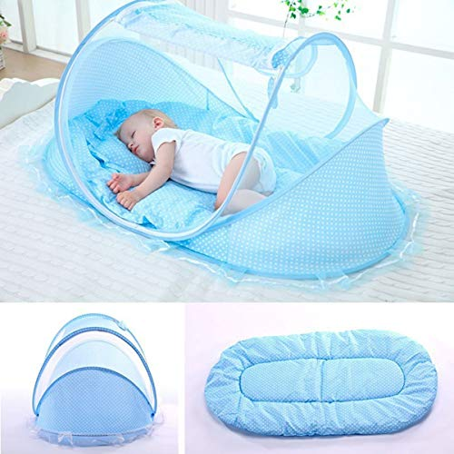 RAXSUN Baby Travel Bed Portable Baby Travel Tent Baby Mosquito Net Portable Baby Blue