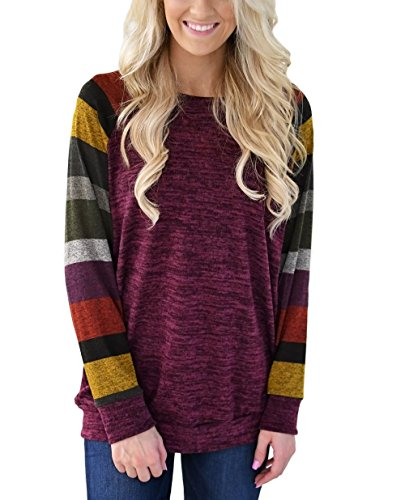 Hellana Womens Casual Long Sleeve Cotton Knitted Shirt Lightweight Color Block Sweatshirt Tunic Tops