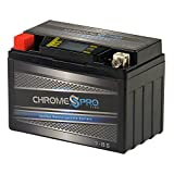 Rechargeable YTX9-BS iGel Motorcycle Battery - Replacement for CTX9, PTR9-BS, YTR9-BS, YTX9, GTX9-12B, ES-TX9 - Maintenance Free - LCD Readout Screen - Chrome Pro Battery