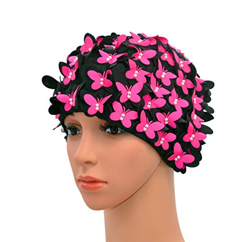 (Medifier Vintage Swim cap Floral Petal Retro Style Bathing Caps for Women Rose Red)