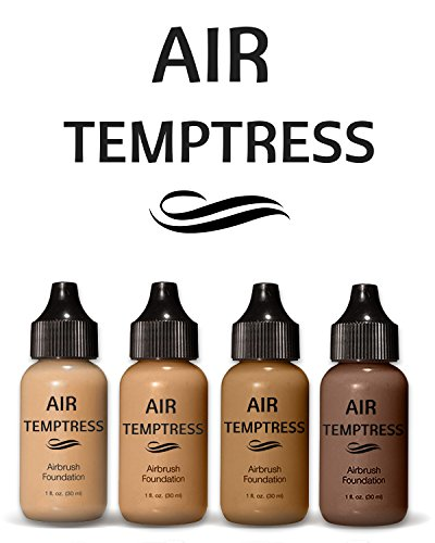 Air Temptress Pro Foundation Starter Set-Medium to Dark-(Pack of 4),1 fl.oz/30ml. High Quality Liquid Airbrush Foundation Makeup Developed to Work With Your Airbrush Makeup System. Made in The USA.