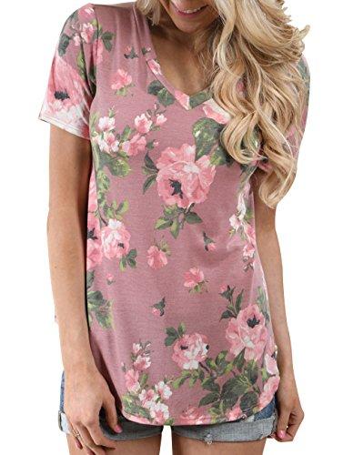 Floral Design Short Sleeve Top - 2