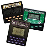 3 in 1 Gambling Handheld Video Game Pack - Solitaire Handheld Game - Blackjack Handheld Game - Poker Handheld Game