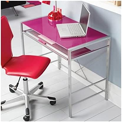 Mainstays Stylish Glass-top Desk Brings Organization to Your Work or Study Area 36 x 20 x 30 inches, Pink