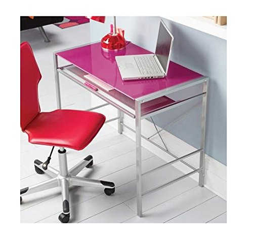 Mainstays Stylish Glass-top Desk Brings Organization to Your Work or Study Area, (Pink)