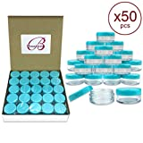 blue cosmetic containers - (Quantity: 50 Pieces) Beauticom 5G/5ML Round Clear Jars with TEAL Sky Blue Lids for Scrubs, Oils, Toner, Salves, Creams, Lotions, Makeup Samples, Lip Balms - BPA Free