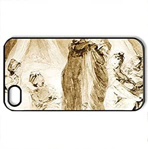 Le Coucher des ouvrieres - Fragonard - Case Cover for iPhone 4 and 4s (Watercolor style, Black)