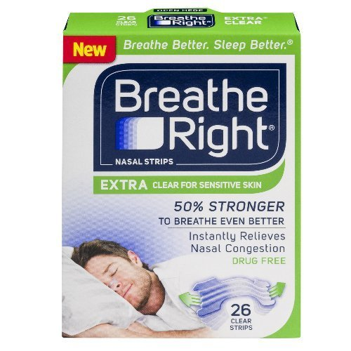 Breathe Right Nasal Strips, Extra Clear for Sensitive Skin 26 ea (Pack of 2)