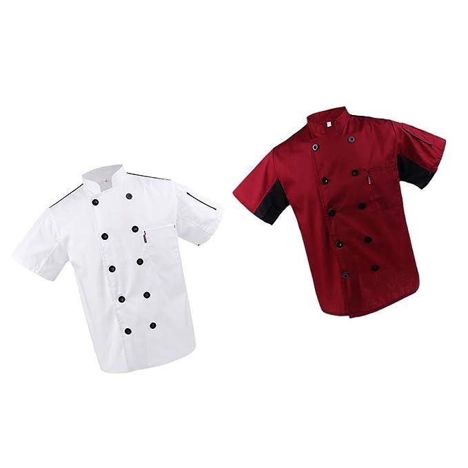 P Prettyia 2 Piezas Abrigo de Chef Capa Ejecutivo Blanco Rojo Capa Transpirable Restaurante Hotel -
