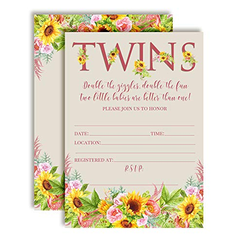 Watercolor Sunflower and Peony Floral Baby Sprinkle Baby Shower Invitations for Twins, 20 5