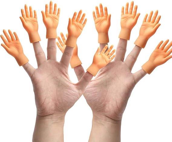 2Pcs//Set Left Right Mini Tiny Hand Joke Finger Puppet Little Funny Toy//qiu
