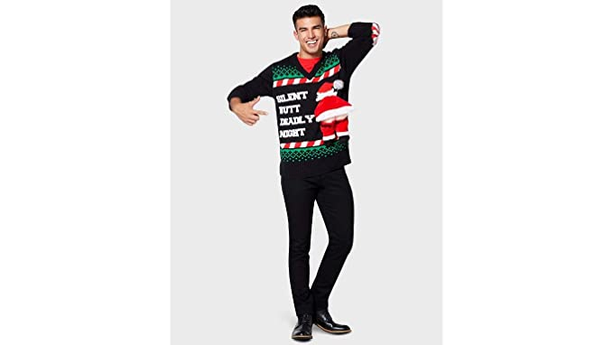 5f10c14d6bb6 Santa Clause Ugly Christmas Sweater Silent Butt Deadly Black and White  Holiday Seasonal Wear for Men