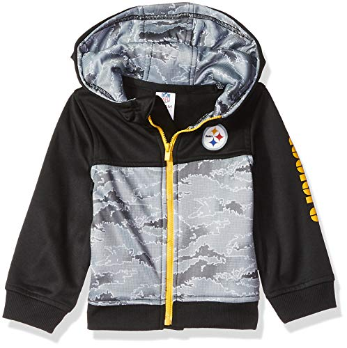 (NFL Pittsburgh Steelers Unisex-Baby Hooded Jacket, Black, 18 Months)