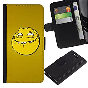 All Phone Most Case / Oferta Especial Cáscara Funda de cuero Monedero Cubierta de proteccion Caso / Wallet Case for Sony Xperia Z1 Compact D5503 // Troll Smiley Face