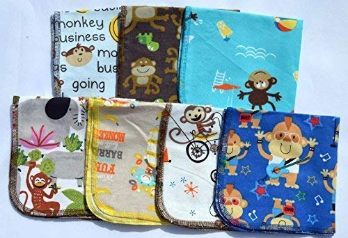 Monkey See Monkey Do 1 Ply 12x12 Inches Set of 5 Printed Flannel Paperless Towels