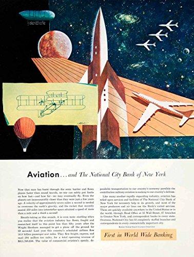 Ad Bank (1951 Ad National City Bank New York John Atherton Art Rocket Space Race YFT7 - Original Print Ad)