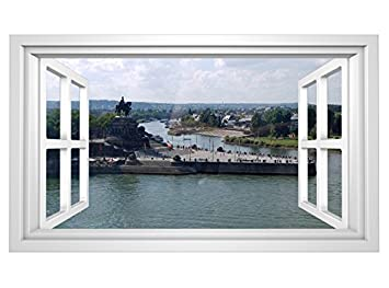 3D Wandmotiv Koblenz Skyline Fenster Deutsches Eck Wandbild ...