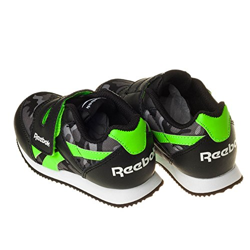 Reebok Royal Cljog 2gr Kc, Zapatos de Primeros Pasos Para Bebés Negro / Verde / Gris / Blanco (Black / Solar Green / Ash Grey / Shark / Wht)